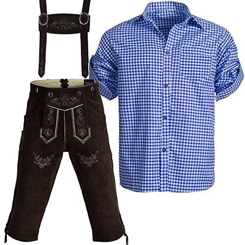 #Trachtenset #Lederhose #Kniebundhose #Gr #46 mit #Trägern aus #Rindveloursleder…