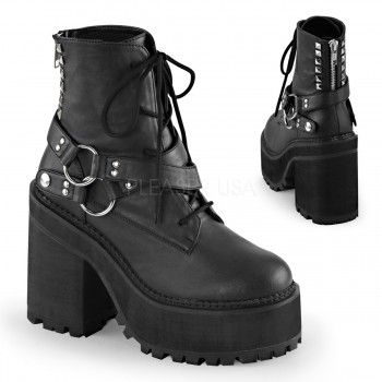 Assault Wrapped Block Heel Womens Combat Boot - New at ShoeOodles.com Price: $99.95  This black vegan leather (man-made) ankle boot has a lace up front with wrap around snap-on strap ith double O-rings at outside. Half studded back zip closure detail. The block heel is 4 3/4 inches (12 cm) with a 2 1/4 inch (5.75 cm) cleated platfrom.  All man-made materials with padded insole and non-skid sole.  #gothic #fashion #steampunk