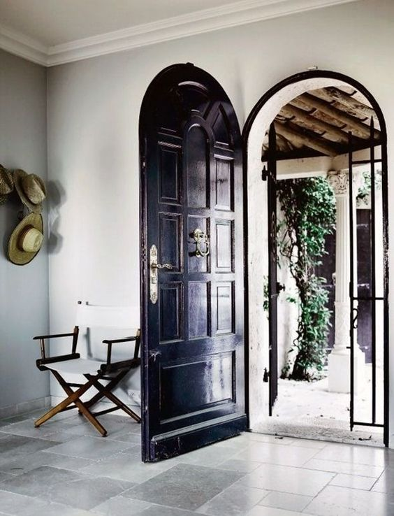 Arched black door: