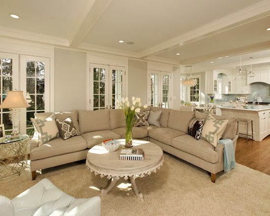 Open concept kitchen living room design ideas layout design french doors and love the - Living room traditional decorating ideas ...