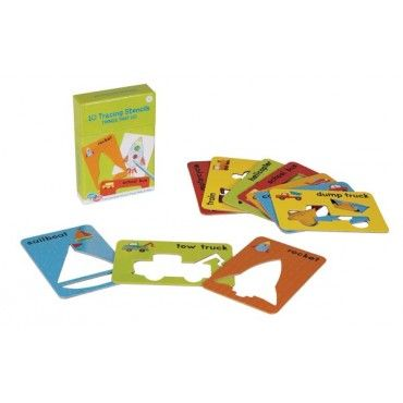 Featuring fun colors and easy to trace shapes, your little one will have hours of fun using the C.R. Gibson Stencil Cards (Things that Go) over and over again. www.rightstart.com $11.99