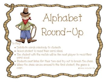 This is a western theme I have...Who has... game using letter recognition as the focus. your students will: Thoughts Of You, Group Game, Rodeo Cowboy, Student, Alphabet Game, Preschool Cowboy