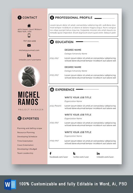 Resume Template Professional Microsoft Word Creative Resume Etsy Resume Template Professional Resume Template Word Free Resume Template Word