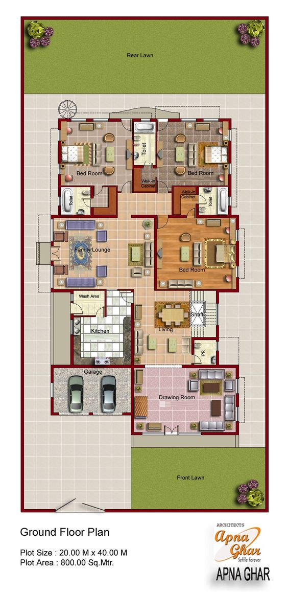 2d floor plan for modern duplex 2 floor house area 800 for Contemporary duplex plans