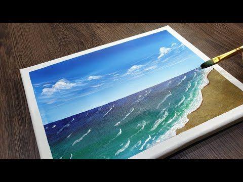 رسم البحر بطريقة سهلة بالوان الاكريليك رسم سهل رسم اكريليك Youtube Acrylic Painting Painting Acrylic