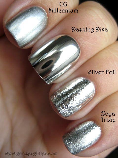 "Chrome Nail Comparison: this blog compares the ""mirror"" chrome fake nails with the chrome nail polish. Good info!"