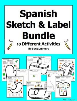 spanish vocabulary sketch and label bundle 10 activities earth day spanish and activities. Black Bedroom Furniture Sets. Home Design Ideas