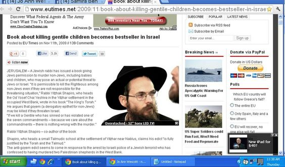 Israel best selling book about how to kill children.