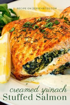 2 pound salmon fillet, butterflied 1 pound fresh spinach 3 tablespoons butter or margarine 1 tablespoon chopped garlic 4 tablespoons olive oil ½ cup heavy cream or milk ½ tablespoon salt ½ tablespoon black pepper 1 tablespoon all purpose flour ½ cup panko breadcrumbs ½ tablespoon paprika ½ tablespoon fresh chopped parsley Lemon slices and dill sauce (available for purchase at Nassau Street Seafood), for serving