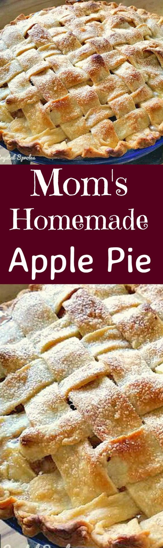 Mom's Homemade Apple Pie. A wonderful old family recipe, simple ingredients, easy to make and delicious every time! Perfect for a regular family dessert, or to take to pot lucks, Thanksgiving, or anytime!  Lovefoodies.com