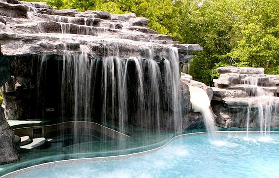 Re-create your favorite scene from South Pacific in this backyard grotto, available for purchase from Viking Pools: Viking Pools, Pool Idea, Backyards Pools, Dream Pools, Awesome Pool, Hot Tubs, Backyard Grotto, Waterfall Pool, Backyard Pools
