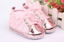 Bebe primeiro walkerskids criança Shoes sapatos bebê Lace - up flor rosa suave únicos sapatos 3 cores(China (Mainland))