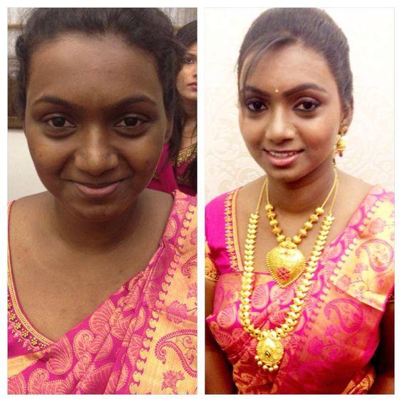 Wedding Gowns For Dark Skin: Bridal Saree Makeup Jewellery
