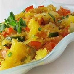 Spaghetti Squash Primavera - This was dinner tonight and it was tasty! We added mushrooms and subbed the fresh tomatoes for sun dried