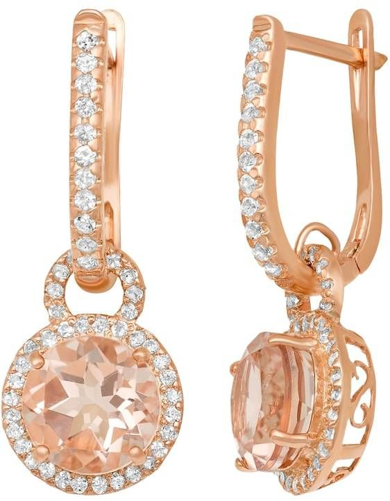 Fine Jewelry Simulated Pink Quartz 14K Gold Over Silver Drop Earrings 9QEYPPtQm