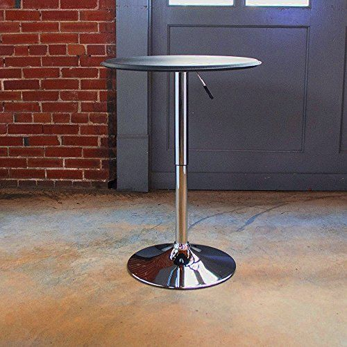 Small Bar Height Dining Table Round Adjustable Chrome And Black
