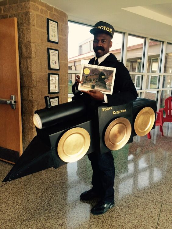 My homemade Polar Express (train conductor) costume. Made for my students reading fair. Made out of cardboard boxes.