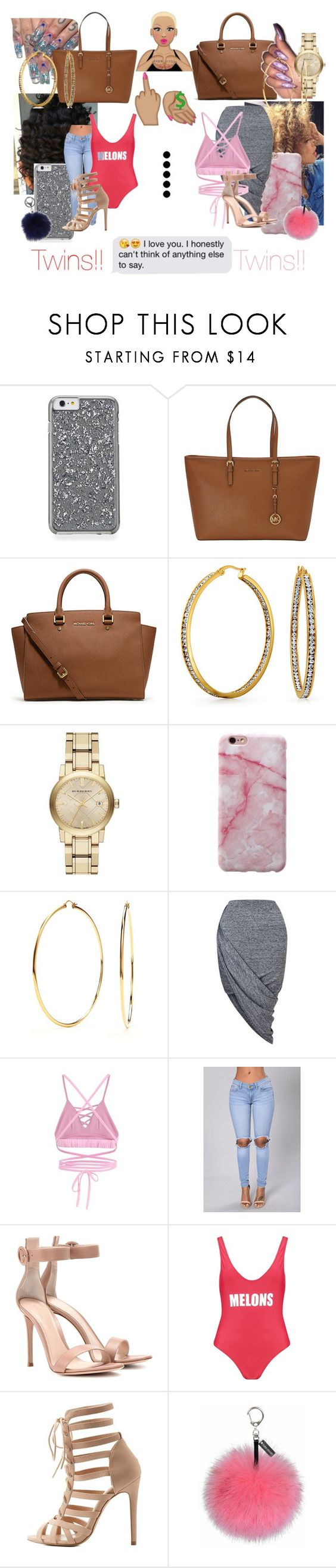 """❤❤"" by mukikiswaggg ❤ liked on Polyvore featuring MICHAEL Michael Kors, Michael Kors, Bling Jewelry, Burberry, Nadri, Miss Selfridge, Gianvito Rossi, Boohoo, Charlotte Russe and Adrienne Landau"