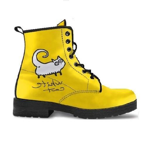 Women S Yellow Premium Boots Of Vegan Leather With A White Cat Boots Yellow Boots Yellow Cat