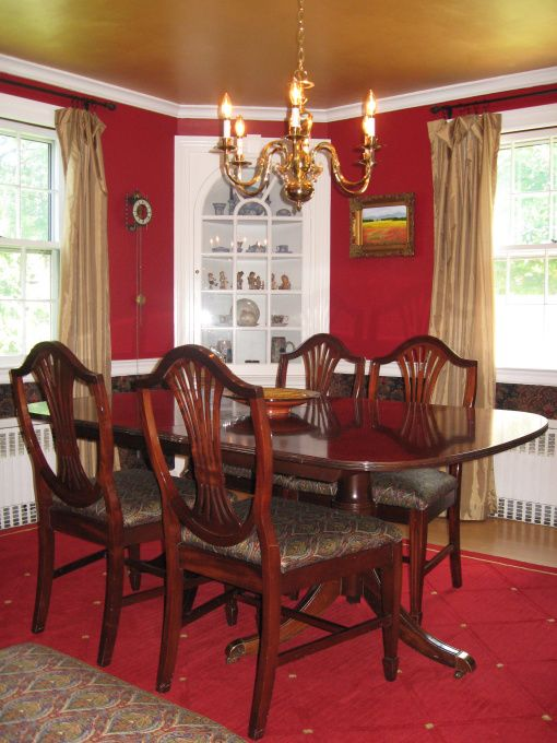 Red wall gold ceiling dining rooms dining room needed a makeover i painted the ceiling 3 - Red dining room color ideas ...