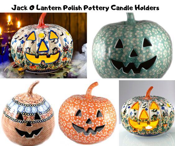 Jack O Lantern Polish Pottery Candle Holders