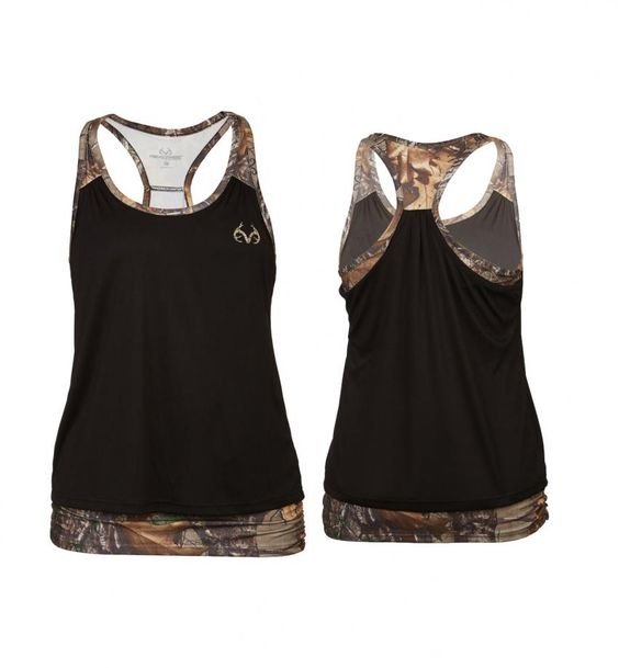 Realtree women's Activewear Camo Tank 2017 - The Altitude Tank uses double layers to cover the tummy and color-blocking with the Realtree Xtra print to shape the body.