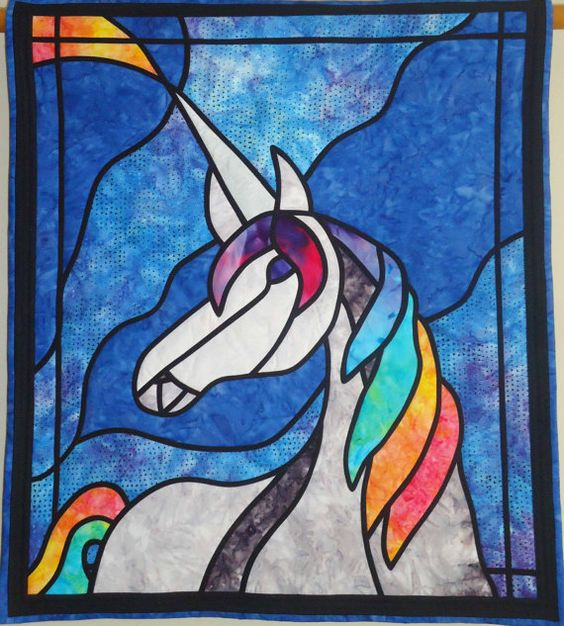Unicorn Stained Glass Quilted Wall Hanging Rainbow