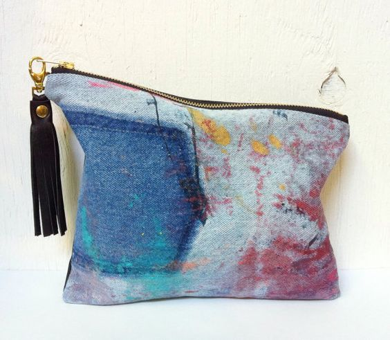 UPCYCLED Asymmetrical Denim Clutch. Abstract Hand Painted door jool