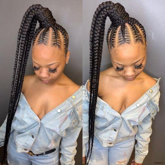 braided ponytail long for black women