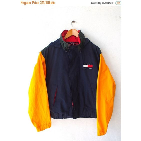 ON SALE 25% TOMMY Hilfiger Colorblock Big Logo Embroidery Vintage