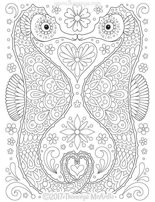 Seahorses Coloring Page From Thaneeya Mcardle S Delightful Animal Families Coloring Book Mermaid Coloring Pages Turtle Coloring Pages Abstract Coloring Pages