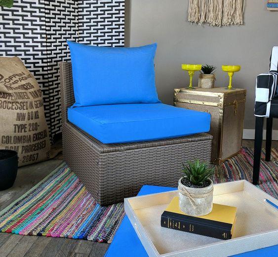 IKEA OUTDOOR Slip Cover, Plain Blue Ikea Cushion Covers