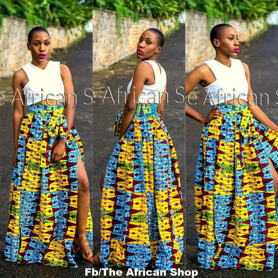 Kenya Maxi Skirt with bow tie by THEAFRICANSHOP on Etsy