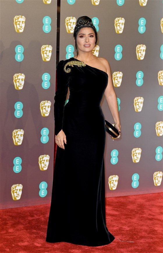 See All The Gorgeous Looks From The Bafta Awards Red Carpet Simple Gowns Salma Hayek British Academy Film Awards