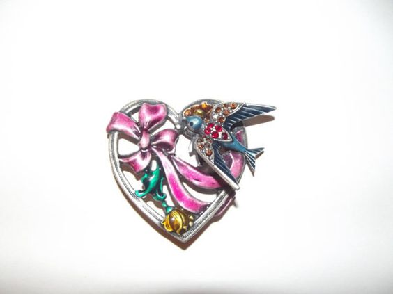 AWESOME+80s+Heart+and+bird+pin/brooch.+by+Strangeisnotacrime