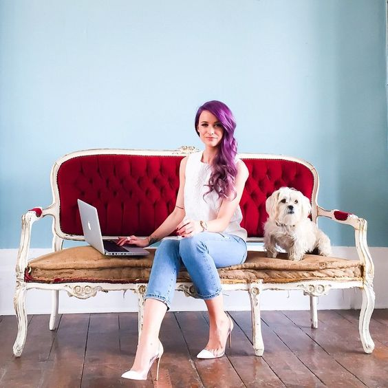 If I could work from a beautiful chair, wearing Mary Katranzou from @harveynichols, with a little pooch by my side every day, I'd be a very happy bunny  (Shot by @harleymoonkemp)