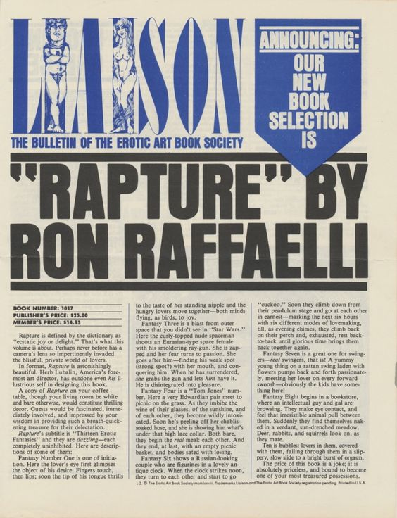 Liaison The Bulletin of the Erotic Art Book Society, 1978, Publisher: Ralph Ginzburg, Design Director: Herb Lubalin