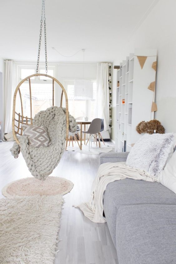 Salon Cocooning Avec Fauteuil Suspendu Salle De Sejour Et Salon Idees De Deco Et D Amenag In 2020 Living Room Scandinavian Lounge Decor Hanging Chair