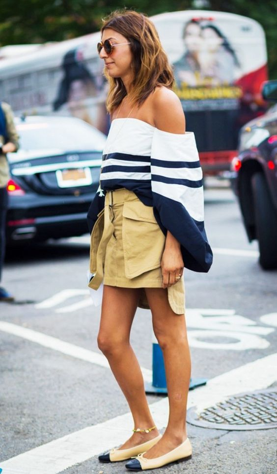 Tone down a statement-making off-the-shoulder top with a khaki skirt and nude ballet flats.
