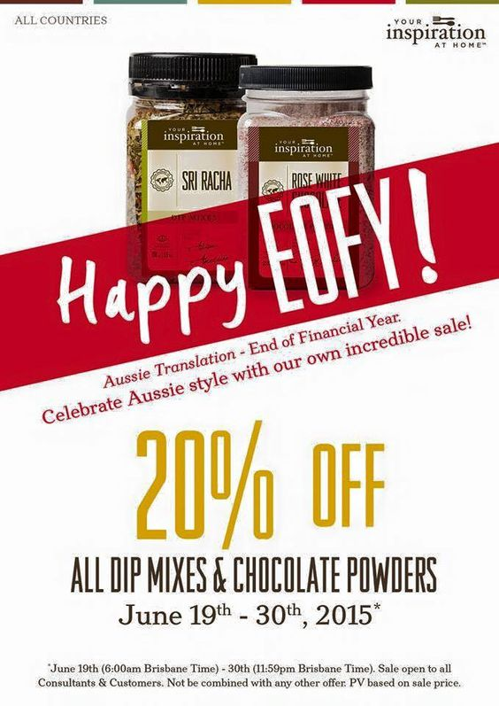WOO HOO - WHO doesn't love a good EOFY !!!!  Grab a bargain on all your Favourite Dip Mixes and Chocolate Powders @20% OFF