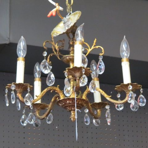 Vintage antique small 5 arm brass and crystal #chandelier, circa 1940.  beautiful crystal and brass chandelier, 5 lights. perfect size for you… |  Pinteres… - SOLD. Vintage Antique Small 5 Arm Brass And Crystal #chandelier
