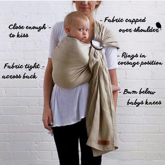 Safe Babywearing positioning in a ring sling