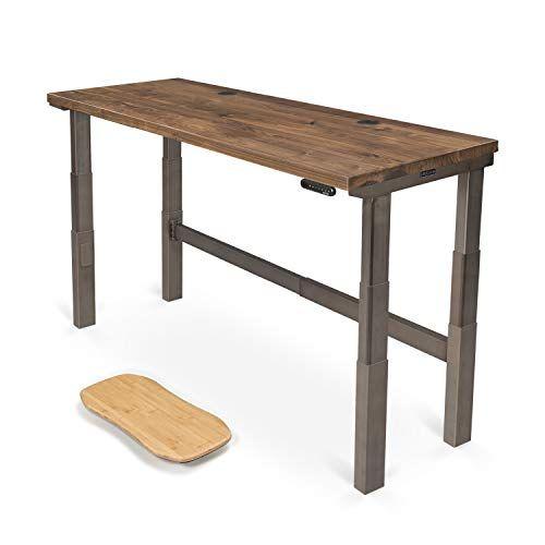 Uplift Desk V2 Walnut Solid Wood Desktop Standing Desk 4 Leg Height Adjustable Commercial Frame Industria Desktop Standing Desk Uplift Desk Adjustable Desk