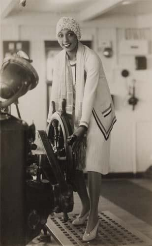 Josephine Baker on a Mediterranean cruise, around 1929. Love that she wearing what looks like a Chanel or Jean Patou outfit.