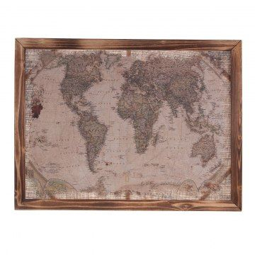 Houten schilderij met een jute doek. Op het doek staat een wereldkaart geprint.