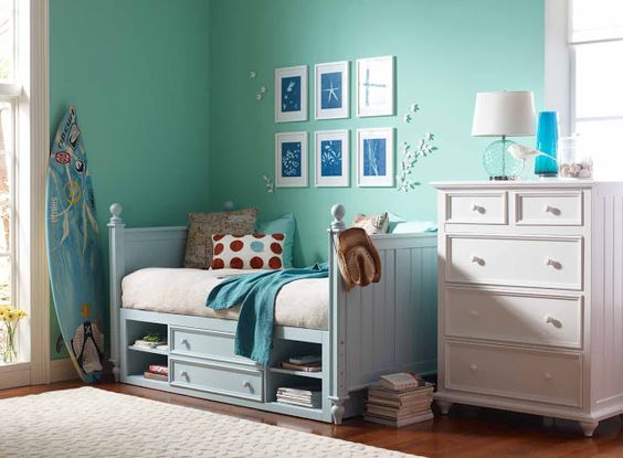 Turquoise Blue And White Bedroom Sun Prints Love The