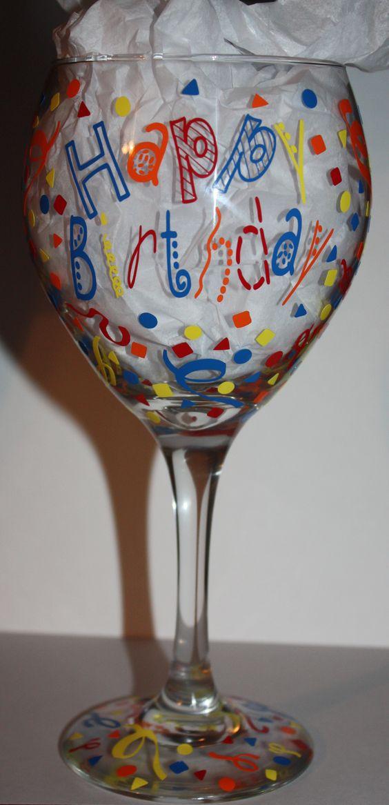 Happy Birthday wine glass