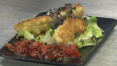 Knusprige Kasnocken mit fruchtig-frischen Salat