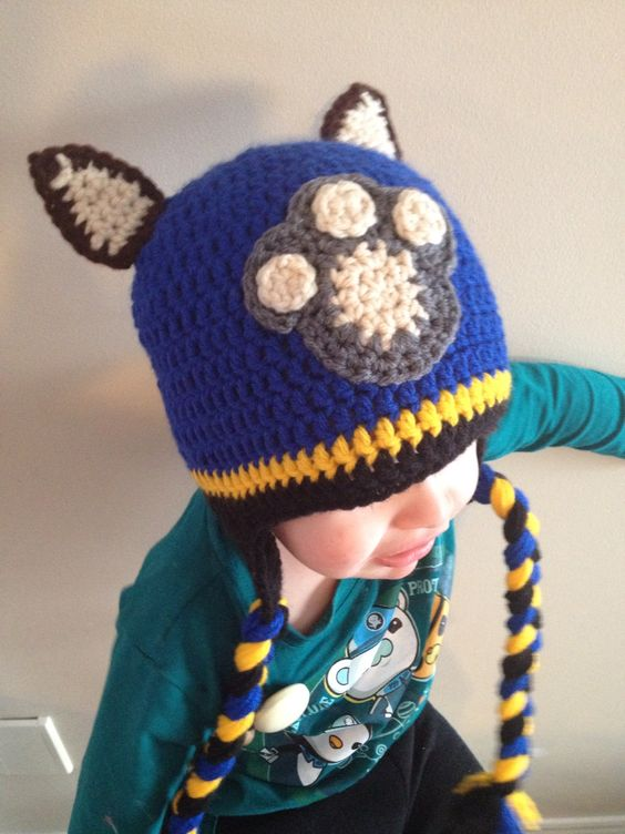 Crochet Hat Pattern Paw Patrol : Chase Paw Patrol Crochet Hat - Paw pattern from Repeat ...