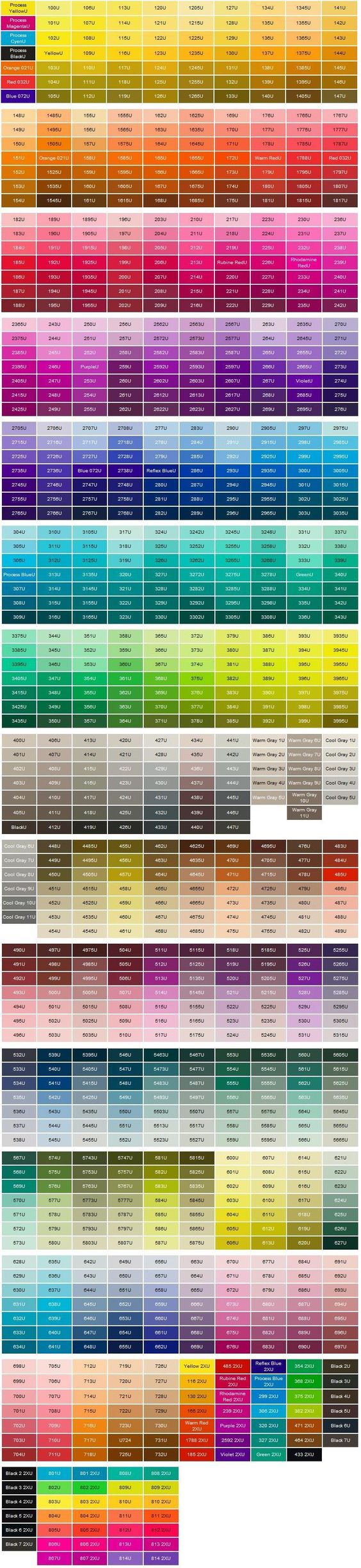 pantone color chart | pantone matching system color chart pms colors used for printing